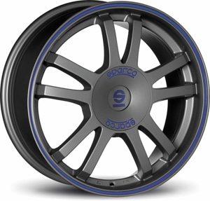 Janta Aliaj SPARCO RALLY Matt Silver Tech Blue Lip 7x16 5x120 48 73